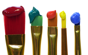 Paint on paint brushes